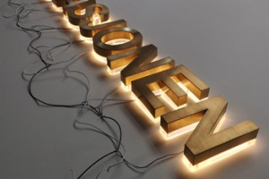 Stainless Steel Brushed Gold Wall Led Letters Backlit Led Letter Signs