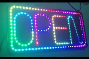 rgb led open signs business shop front eyecatching signage