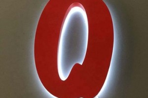 red color painted acrylic O/N/R/A/D/C backlit led letter sign