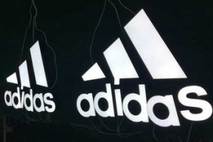 Wall mount  outdoor face lit brand logo Adidas signage LED channel letters