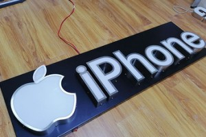 Mobile phone shop led 3d apple logo letter indoor wall mounted name board acrylic Frontlit LED letters Signage